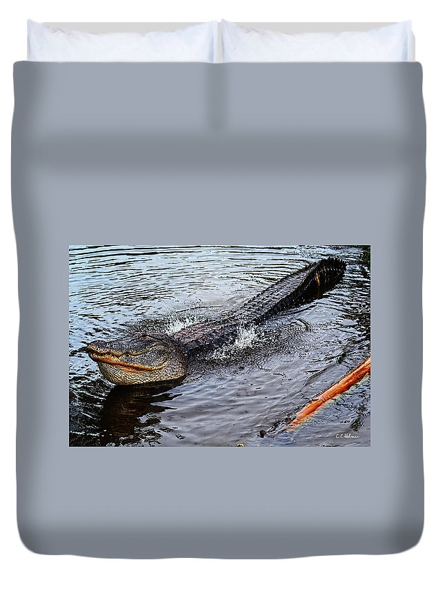 Alligator Duvet Cover featuring the photograph Calling For A Date by Christopher Holmes