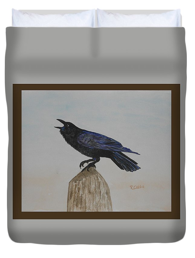 Crow Duvet Cover featuring the painting Calling by Robin Cobb