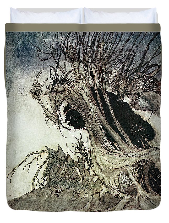 Arthur Rackham Duvet Cover featuring the drawing Calling Shapes And Beckoning Shadows Dire by Arthur Rackham