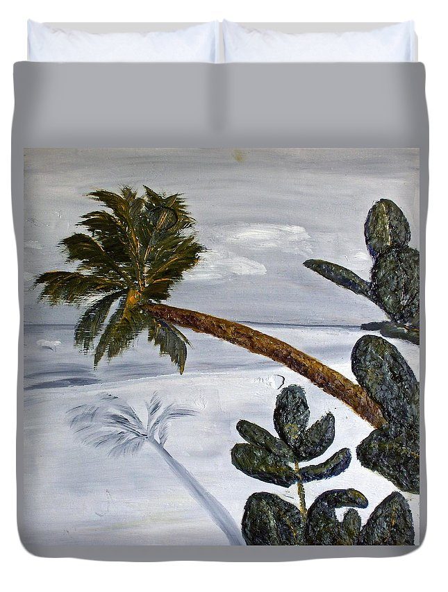 Still Life Paintings Duvet Cover featuring the painting Calm Beach Palm by Leslye Miller