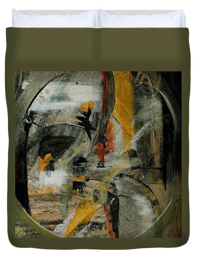 Abstract Duvet Cover featuring the painting Calm Out Of Chaos by Ruth Palmer