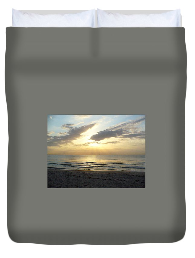 Seashore Duvet Cover featuring the photograph Calm Seas by Peggy King