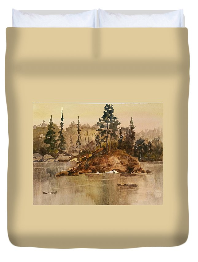 Landscape Duvet Cover featuring the painting Calm Waters by Larry Hamilton