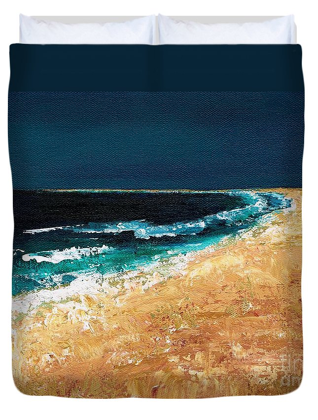 Ocean Tide Duvet Cover featuring the painting Calming Waters by Frances Marino