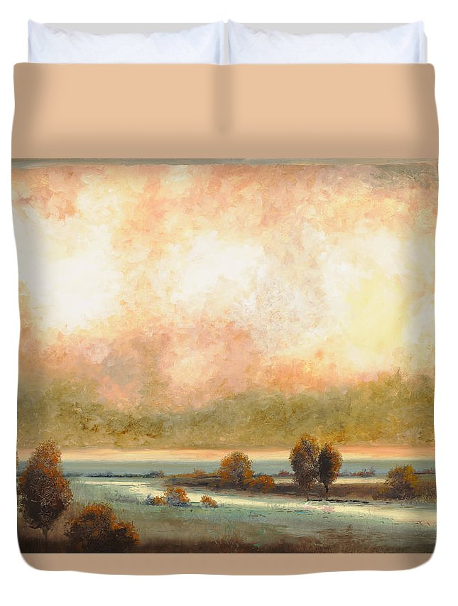 Pond Duvet Cover featuring the painting Calor Bianco by Guido Borelli