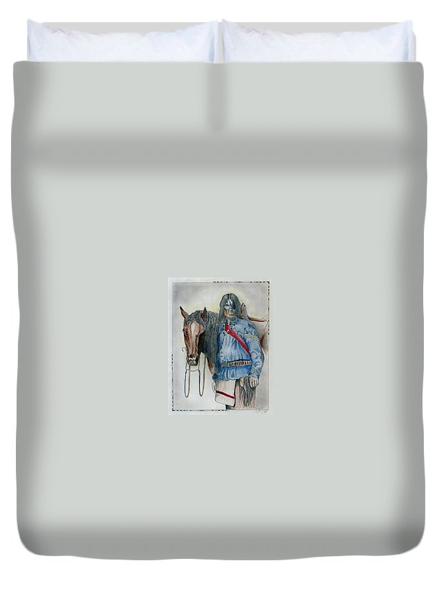American Duvet Cover featuring the drawing Calvary Scout by Jimmy Smith