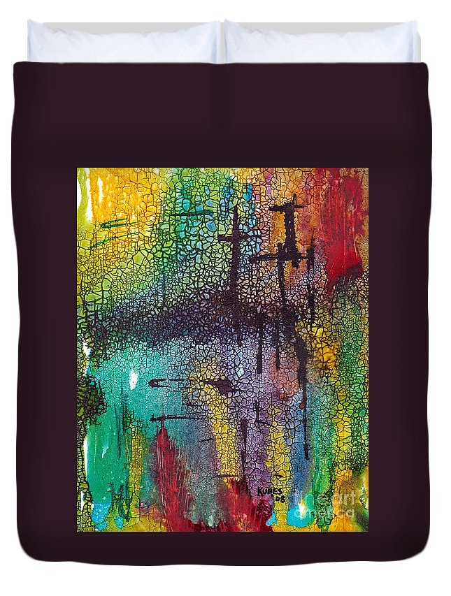 Cross Duvet Cover featuring the painting Calvary by Susan Kubes