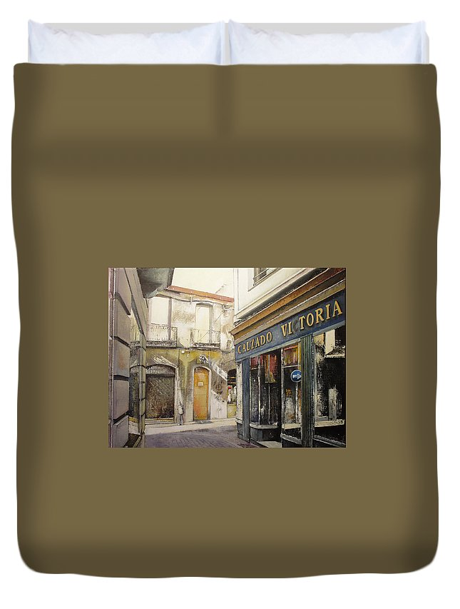 Calzados Duvet Cover featuring the painting Calzados Victoria-leon by Tomas Castano