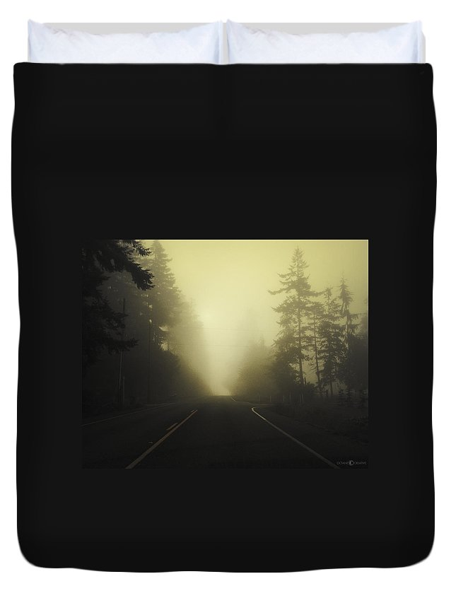 Fog Duvet Cover featuring the photograph Camano Island Fog by Tim Nyberg