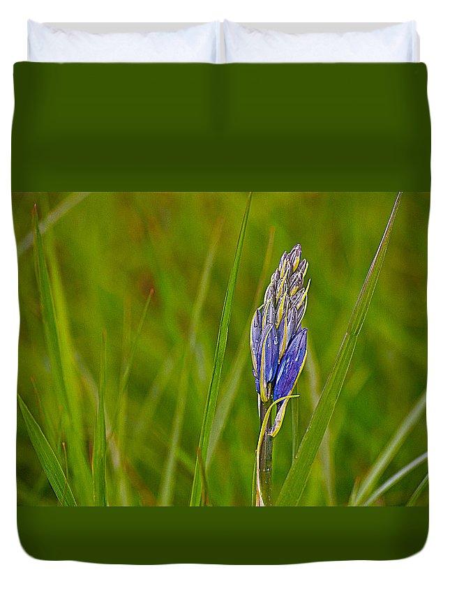 Camas Duvet Cover featuring the photograph Camas Flower Pod by Emerald Studio Photography