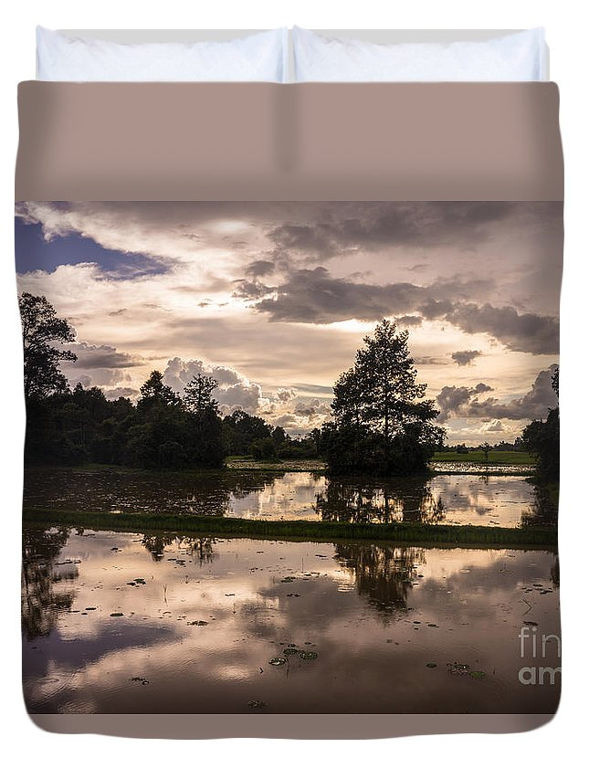 Sunrise Duvet Cover featuring the photograph Cambodian Countryside Rice Fields Reflection by Mike Reid