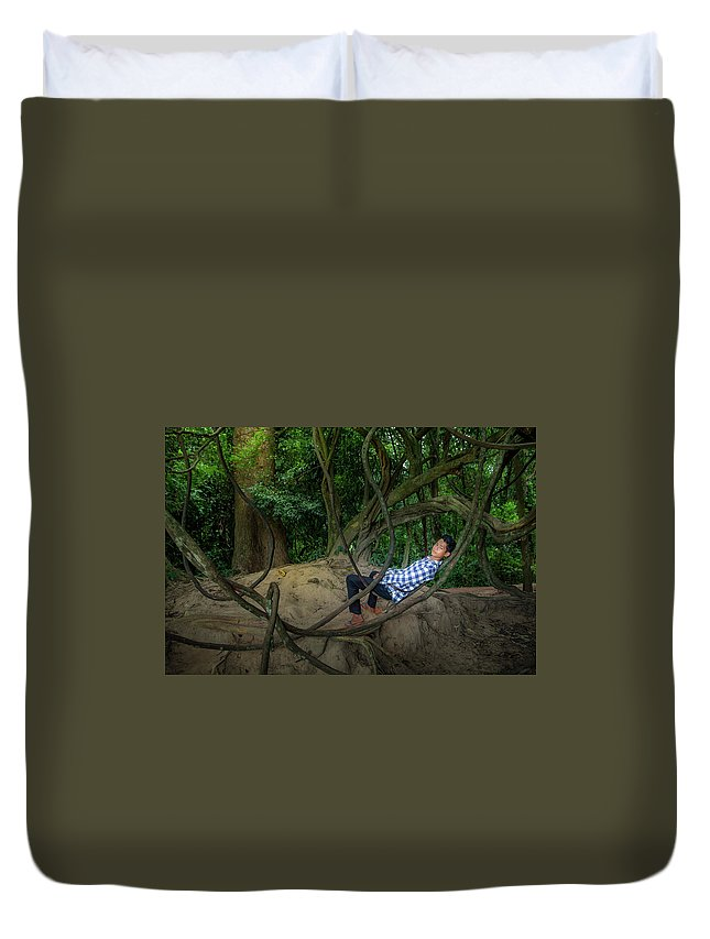 People Duvet Cover featuring the photograph Cambodian Jungle Swing by Art Phaneuf