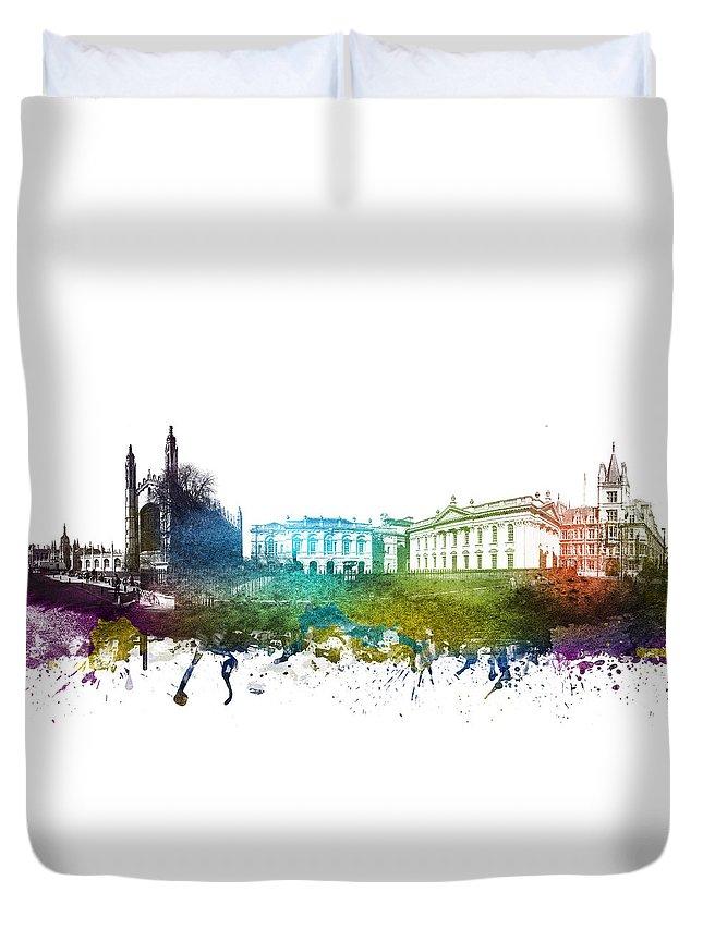 Cambridge Duvet Cover featuring the digital art Cambridge Cityscape 01 by Aged Pixel