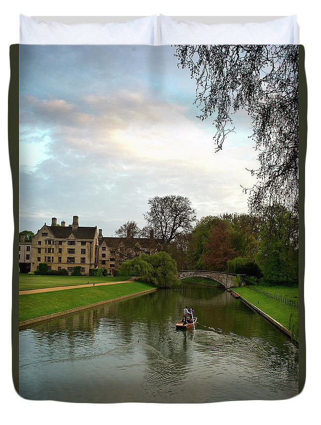 Stratford Duvet Cover featuring the photograph Cambridge Clare College Stream Boat And Boys by Douglas Barnett