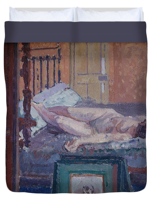 Nude Duvet Cover featuring the painting Camden Town Nude by Spencer Frederick Gore