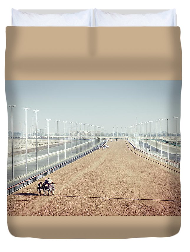 Al Marmoom Duvet Cover featuring the photograph Camel Racing Track In Dubai by Alexey Stiop