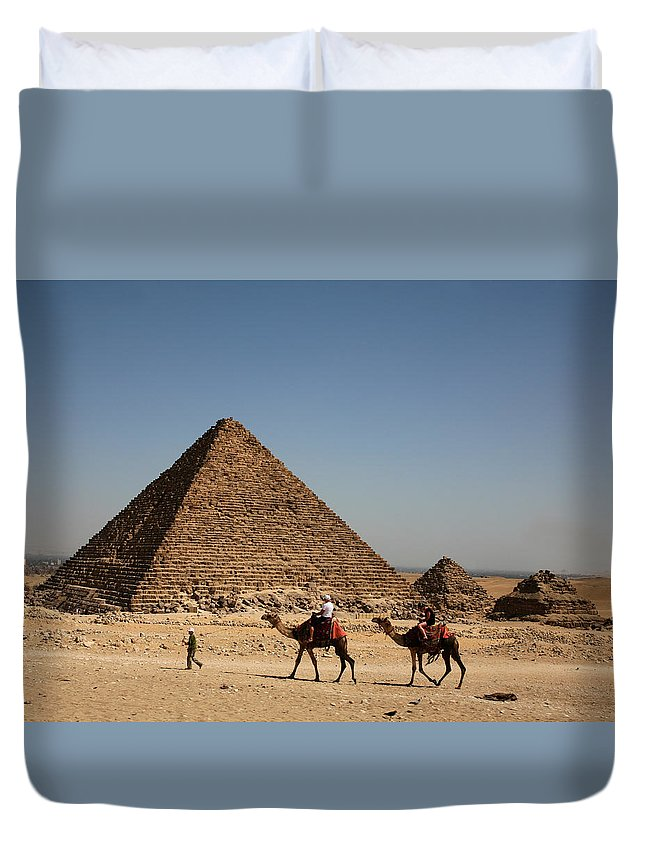Camels Duvet Cover featuring the photograph Camel Ride At The Pyramids by Donna Corless