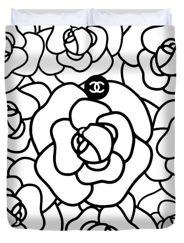 b9fe2a9e7dfe Chanel Duvet Cover featuring the digital art Camellia Cc by Tres Chic