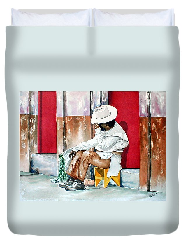 South Of The Border Duvet Cover featuring the painting Camera Shy by Kandyce Waltensperger