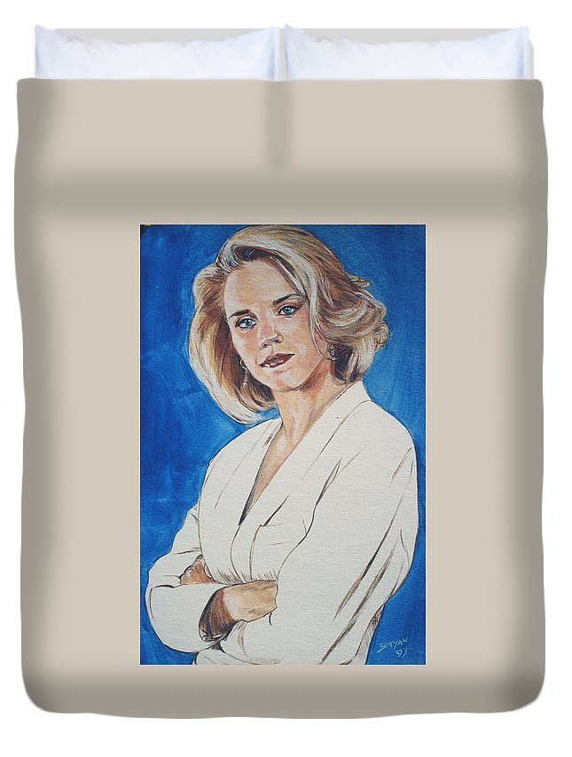Cami Cooper Duvet Cover featuring the painting Cami Cooper by Bryan Bustard