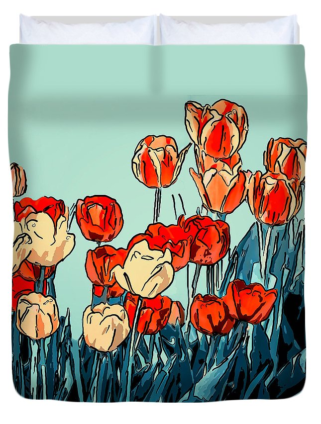 Steve Harrington Duvet Cover featuring the photograph Camille's Tulips - Version 3 by Steve Harrington
