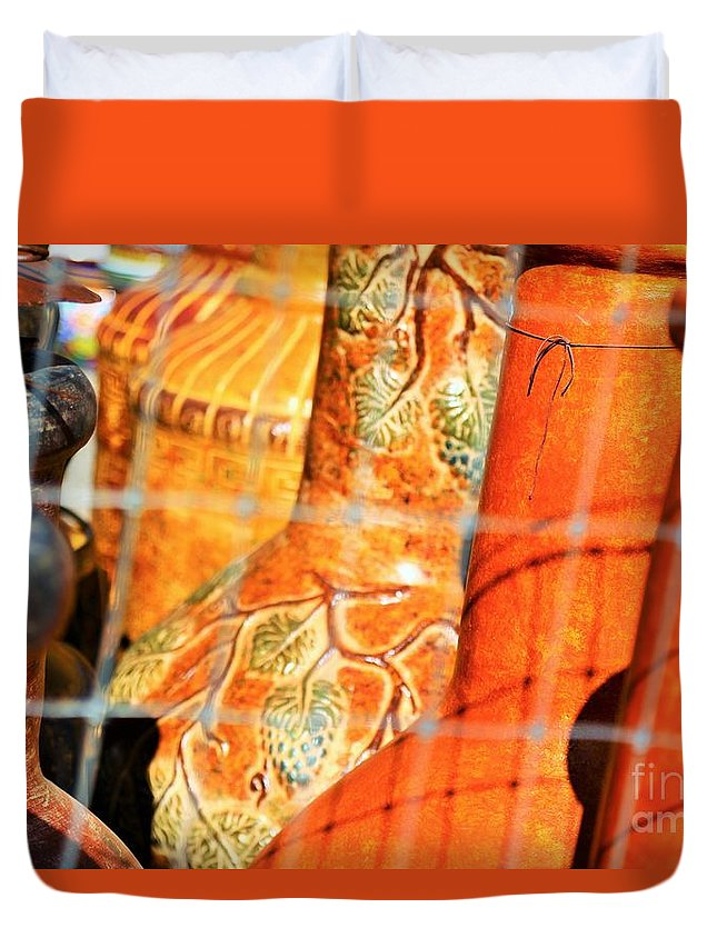 Landscape Duvet Cover featuring the photograph Cammo Pottery by Jeff Downs