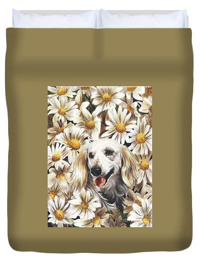 Dachshund Duvet Cover featuring the drawing Camoflaged by Barbara Keith