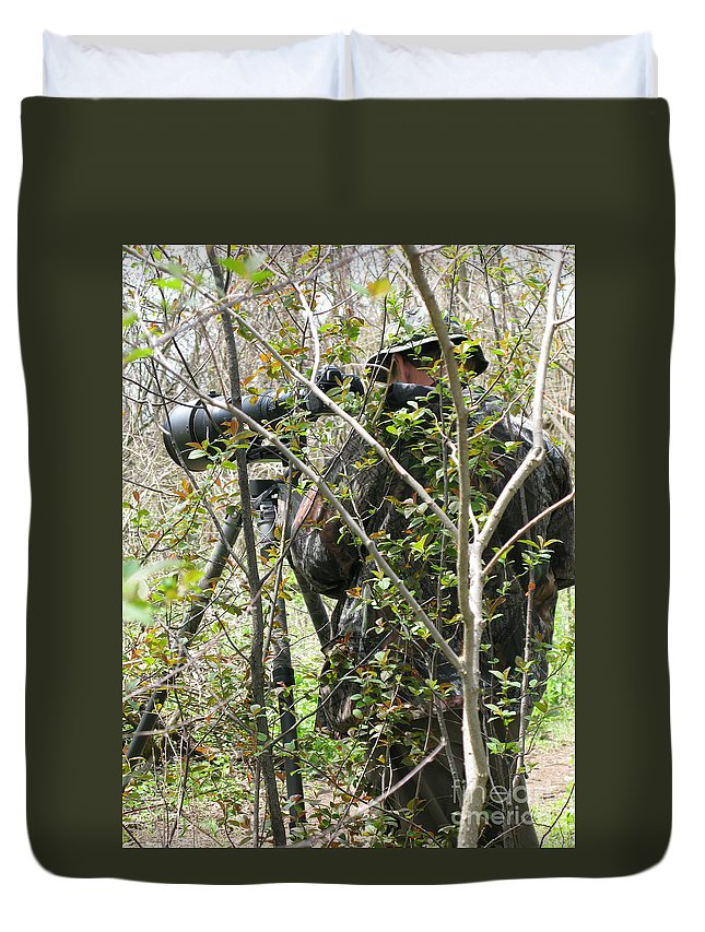 Photographer Duvet Cover featuring the photograph Camouflage by Ann Horn