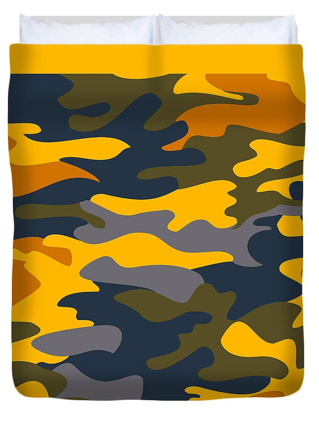 Seamless Duvet Cover featuring the digital art Camouflage Pattern Background Seamless Clothing Print, Repeatabl by Svetlana Corghencea