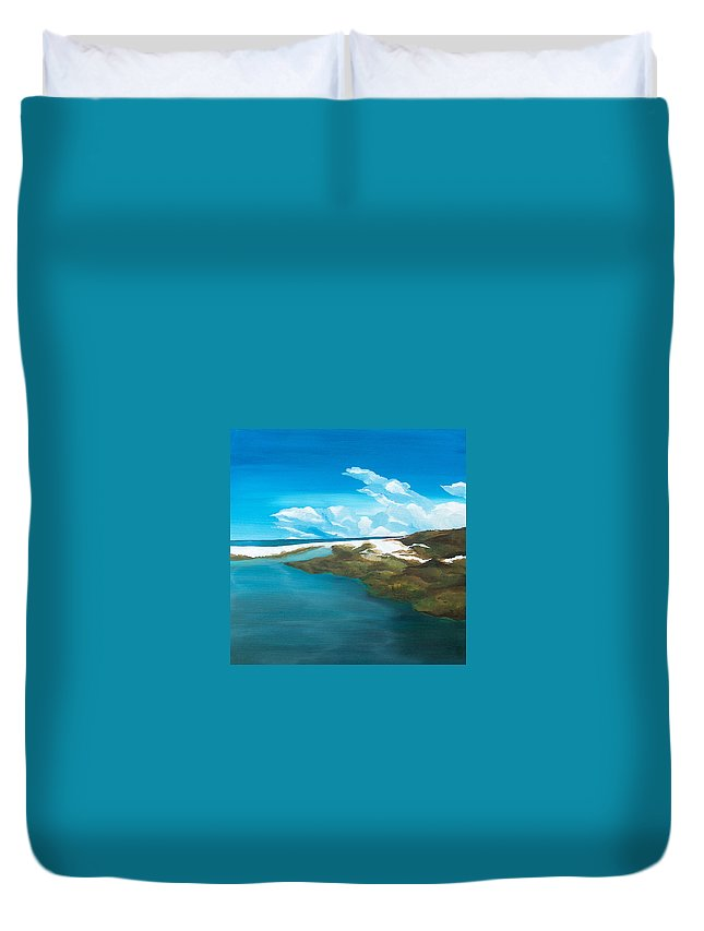 Beach Duvet Cover featuring the painting Camp Creek by Racquel Morgan