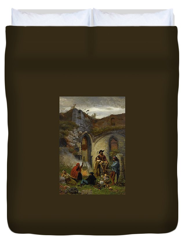 Jules Breton  Camp Gypsies In The Ruins Of The Abbey Of St Bavon (gent) Duvet Cover featuring the painting Camp Gypsies In The Ruins Of The Abbey by MotionAge Designs