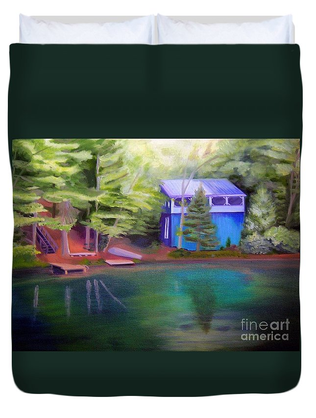 Camp Duvet Cover featuring the painting Camp by Morgan Leshinsky