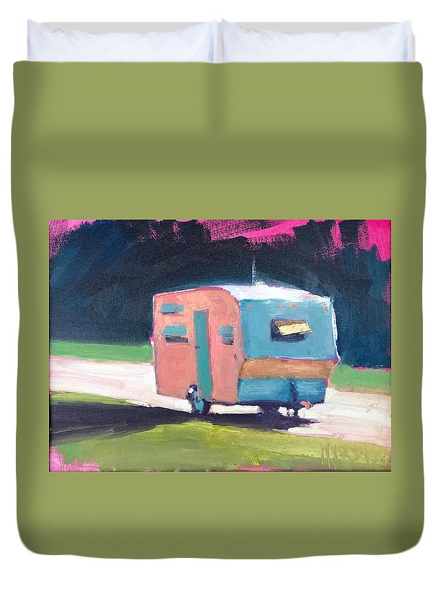 Camp. Camper. Trailer. Vintage. Bright. Summer. Duvet Cover featuring the painting Camped Out by Stephen Wysocki