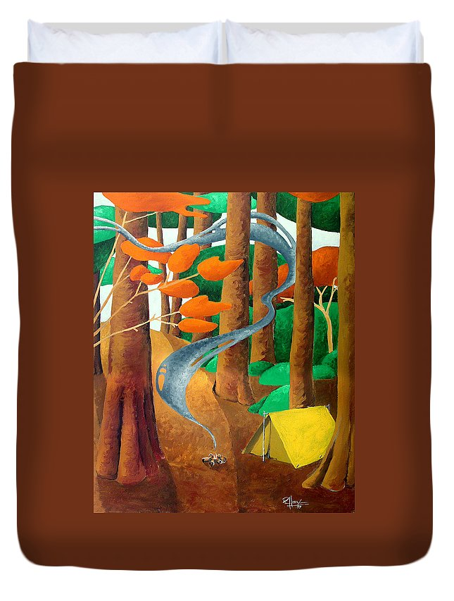 Landscape Duvet Cover featuring the painting Camping - Through The Forest Series by Richard Hoedl