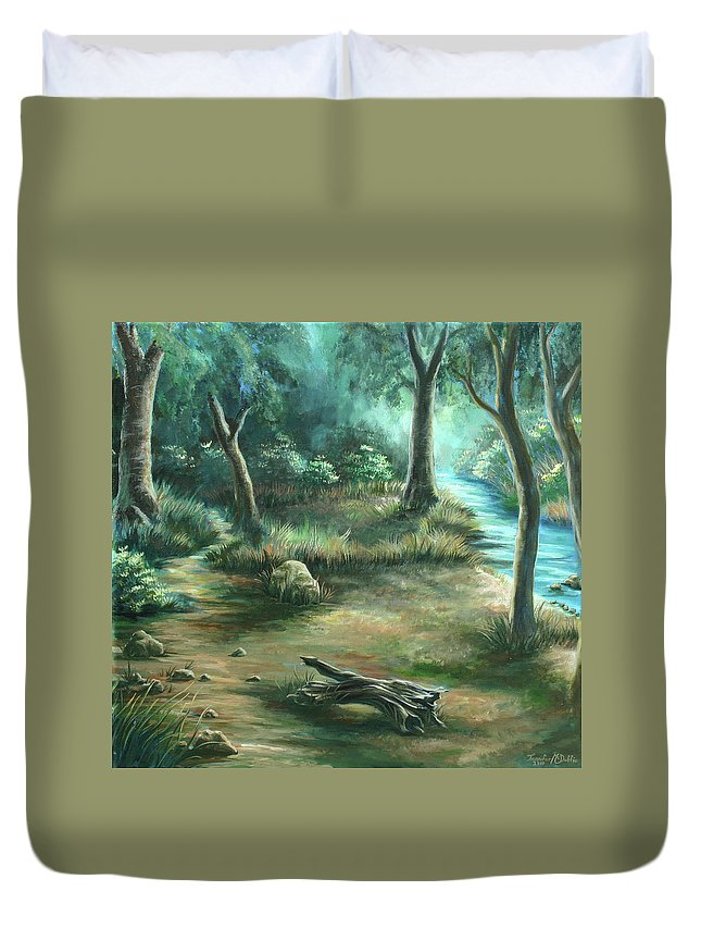 Landscape Duvet Cover featuring the painting Camping At Figueroa Mountains by Jennifer McDuffie