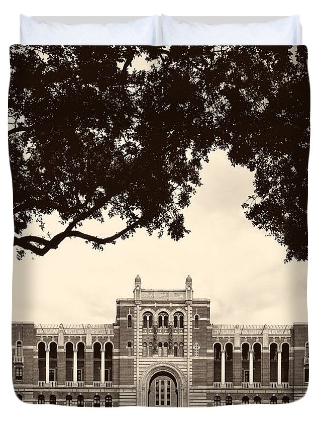 Hdr Duvet Cover featuring the photograph Campus Of Rice University by Mountain Dreams