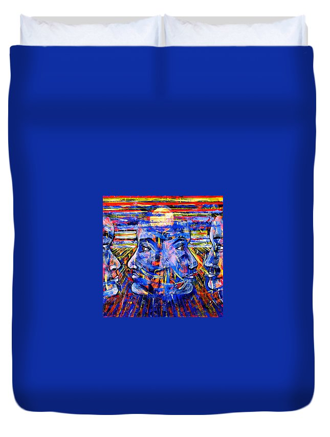 Confrontation Duvet Cover featuring the painting Can Not Live A Lie by Rollin Kocsis