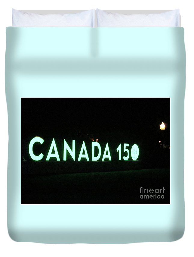 Montreal Quebec Duvet Cover featuring the photograph Canada 150 by Randall Weidner