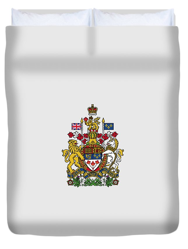 Canada Duvet Cover featuring the drawing Canada Coat Of Arms by Movie Poster Prints