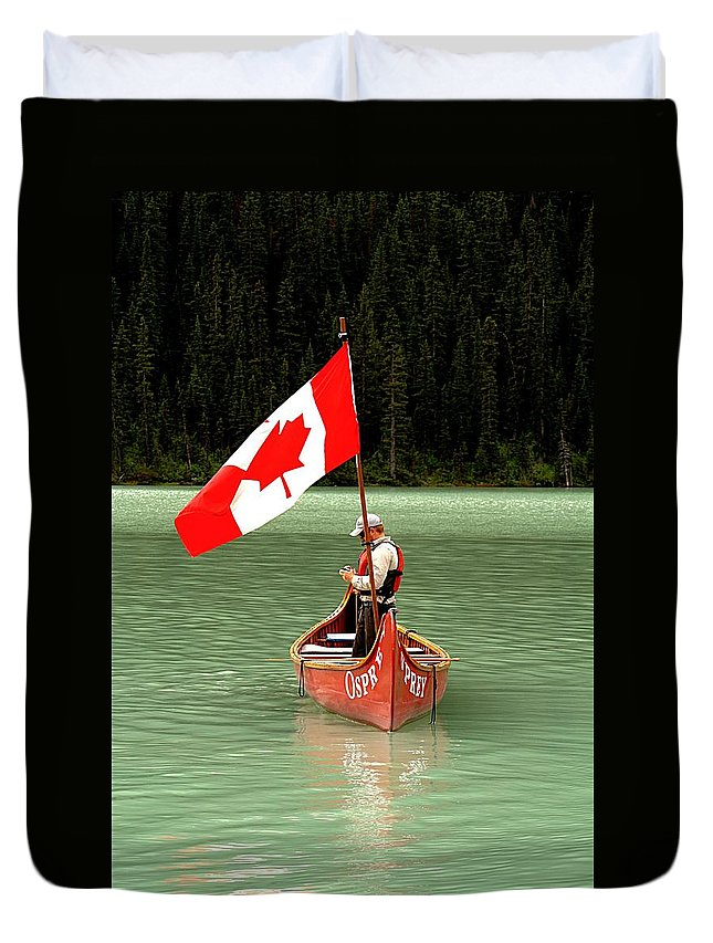 Flags Duvet Cover featuring the photograph Canada Day... by Al Fritz