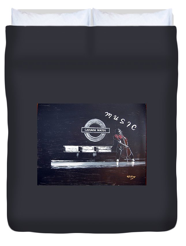 Cello Duvet Cover featuring the painting Canada Water Music by Richard Le Page