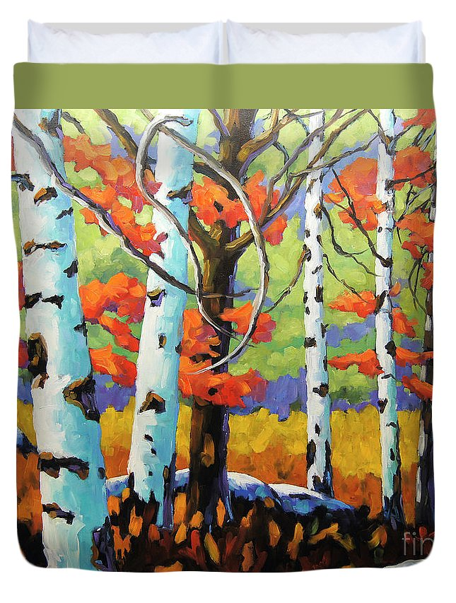 Birches Duvet Cover featuring the painting Canadian Birch Woods by Richard T Pranke