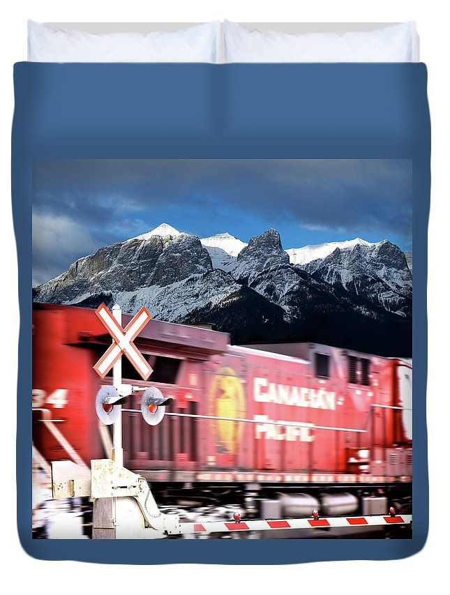 Train Duvet Cover featuring the photograph Canadian Pacific Trail Slices Through The Rockies by Lisa Knechtel