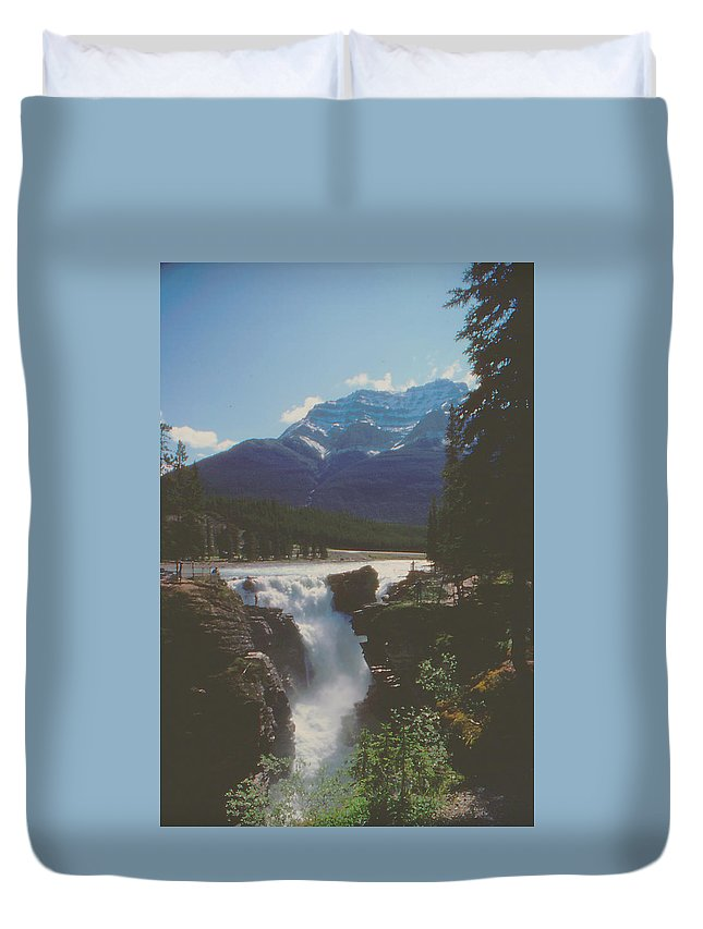 Canada Duvet Cover featuring the photograph Canadian Rockies Cascade by Ron Swonger
