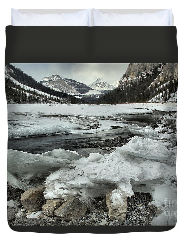 Rampart Creek Duvet Cover featuring the photograph Canadian Rockies Rugged Winter Landscape by Adam Jewell