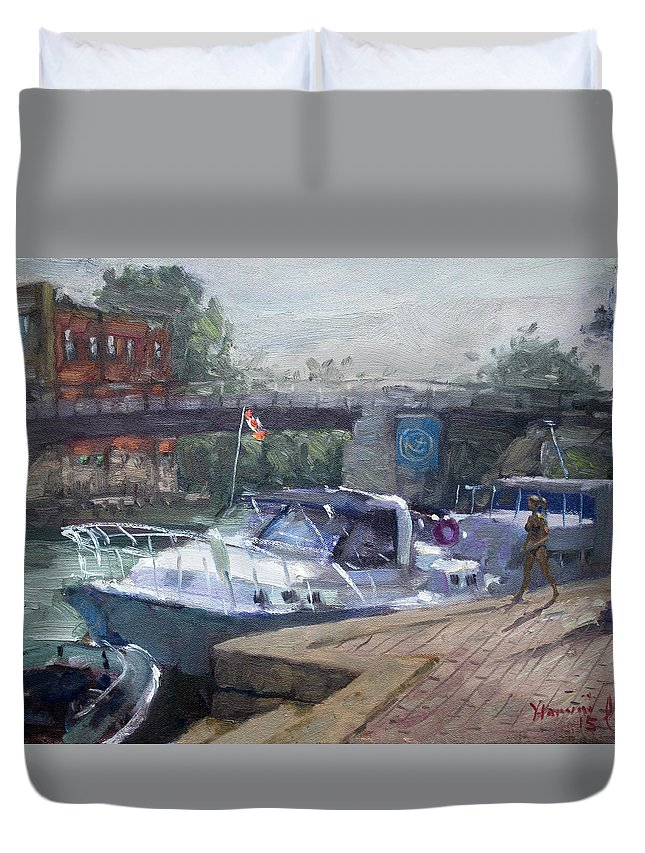 Boats In Harbor Duvet Covers