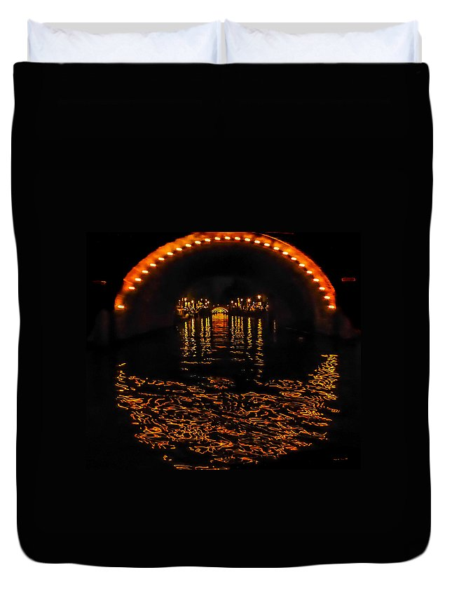 Canal Duvet Cover featuring the photograph Canal At Night - Amsterdam by Pamela Newcomb
