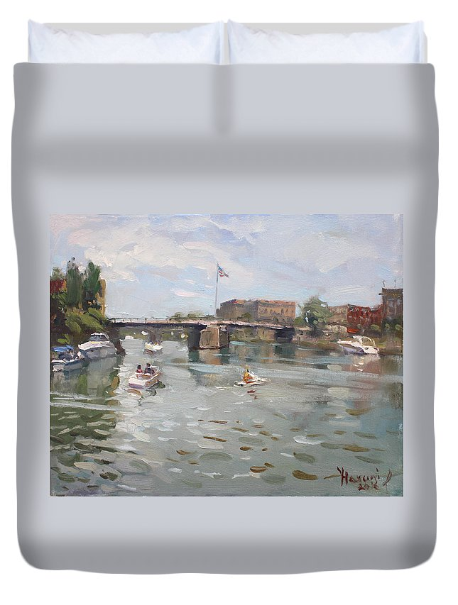Canal Duvet Cover featuring the painting Canal At Tonawanda City by Ylli Haruni