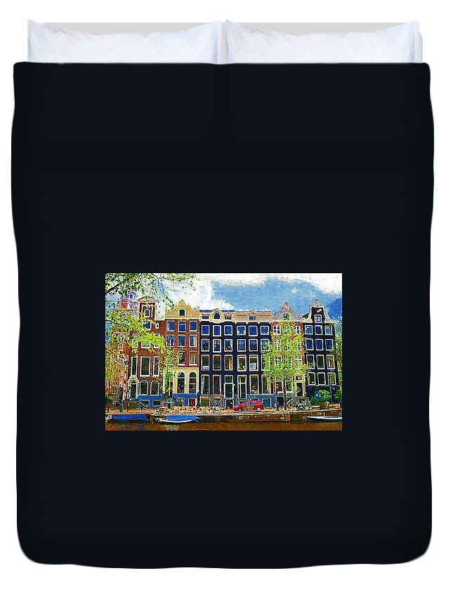 Amstersdam Duvet Cover featuring the photograph Canal Houses by Tom Reynen
