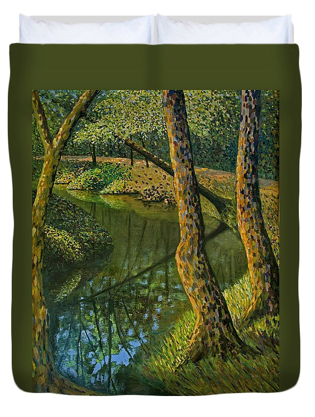 Impressionism Duvet Cover featuring the painting Canal In Sunlight by Don Perino